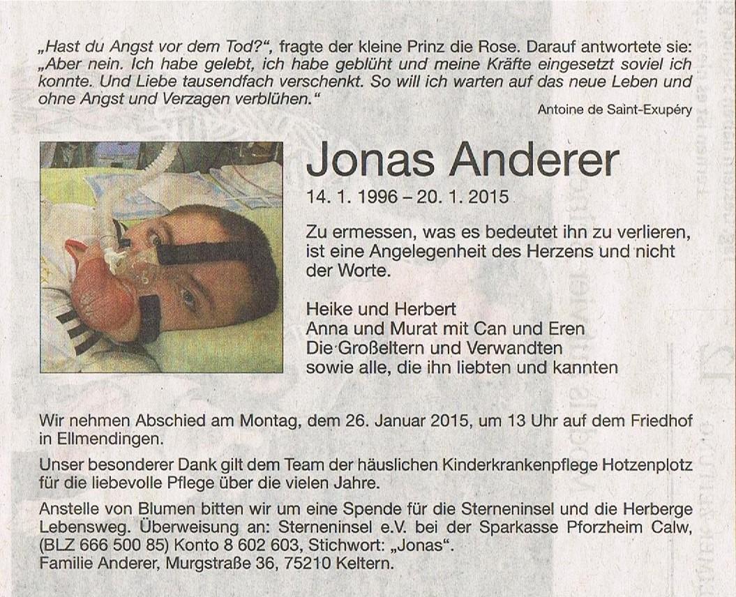 Gedanken zum Tod von Jonas Anderer - Familienherberge